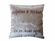 Wedding ring pillows, embroidered with names and doves