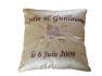 Wedding ring pillows, embroidered with names and flowers